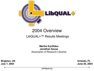 2004 Overview LibQUAL+™ Results Meetings