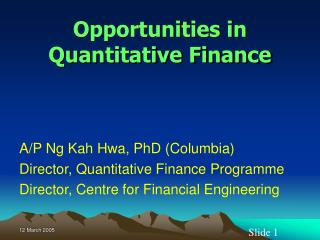 Opportunities in Quantitative Finance