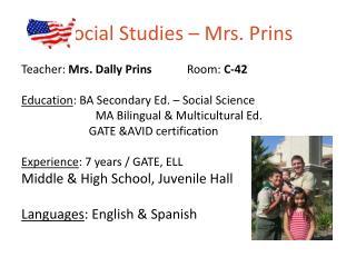 Social Studies –  Mrs. Prins