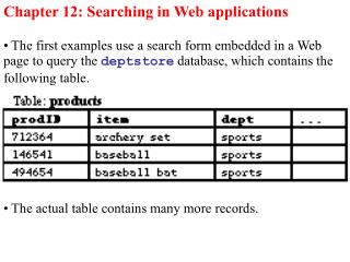 Chapter 12: Searching in Web applications