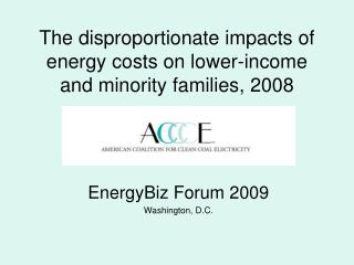 The disproportionate impacts of energy costs on lower-income and minority families, 2008