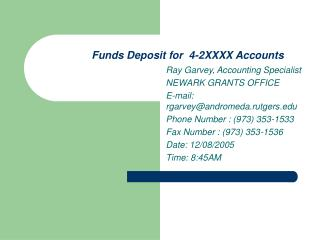 Funds Deposit for  4-2XXXX Accounts