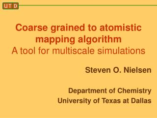 Coarse grained to atomistic mapping algorithm A tool for multiscale simulations