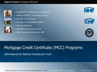Mortgage Credit Certificate (MCC) Programs
