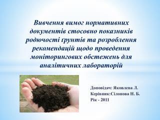 Доповідач: Яковлева Л. Керівник:Сілонова Н. Б. Рік - 2011