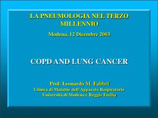 COPD AND LUNG CANCER