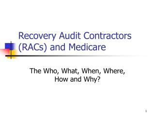 Recovery Audit Contractors (RACs) and Medicare