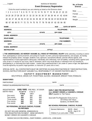 FESTIVAL OF THE KINGS Event Division(s) Registration