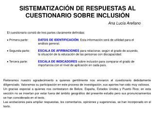 SISTEMATIZACIÓN DE RESPUESTAS AL CUESTIONARIO SOBRE INCLUSIÓN