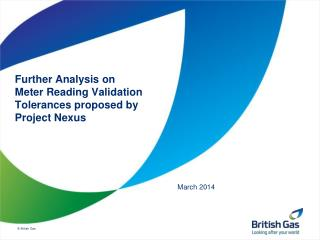 Further Analysis on Meter Reading Validation Tolerances proposed by Project Nexus