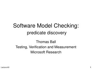Software Model Checking:  predicate discovery