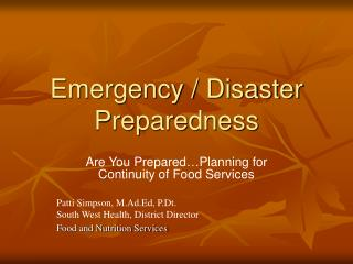 Emergency / Disaster Preparedness