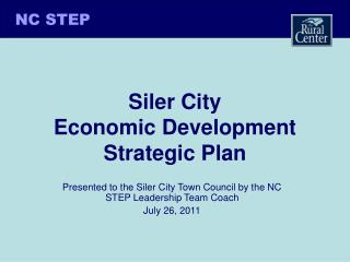 Siler City  Economic Development  Strategic Plan