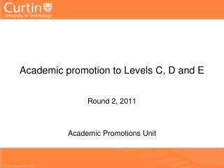 Academic promotion to  L evels C, D and E