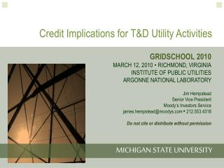 Credit Implications for T&D Utility Activities