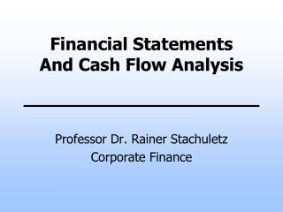 Professor Dr. Rainer Stachuletz Corporate Finance