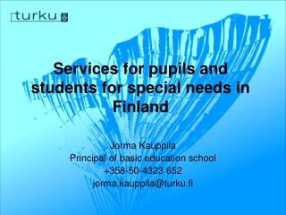 Services for pupils and students for special needs in  Finland