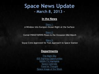 Space News Update - March 8, 2013 -