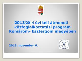 2013 /2014  év i  téli átmenet i  közfoglalkoztatási program  Komárom- Esztergom megyében