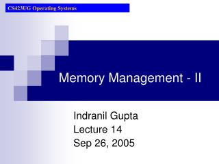 Memory Management - II