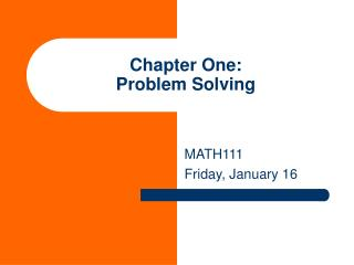Chapter One: Problem Solving