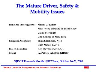 The Mature Driver, Safety & Mobility Issues