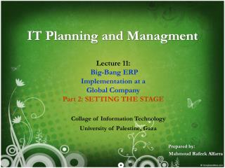 IT Planning and Managment