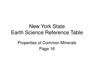New York State Earth Science Reference Table