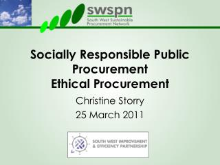 Socially Responsible Public Procurement  Ethical Procurement
