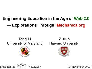 Engineering Education in the Age of  Web 2.0 — Explorations Through  iMechanica