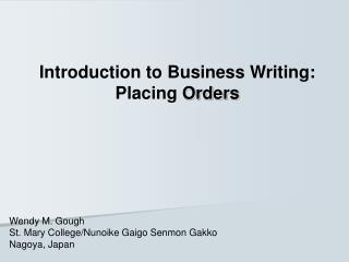 Introduction to Business Writing: Placing  Orders
