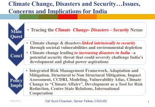 Climate Change, Disasters and Security…Issues, Concerns and Implications for India