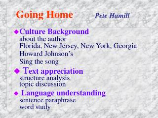 Going Home Pete Hamill