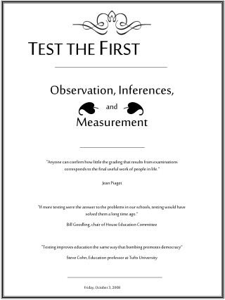 Observation, Inferences, and Measurement