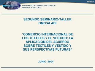 BREVE INFORMACION SOBRE EL SECTOR DE LOS PRODUCTOS TEXTILES Y PRENDAS DE VESTIR EN CUBA.     POSICION DE CUBA EN EL CONT