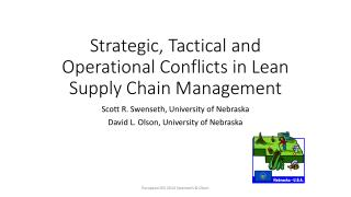 Strategic, Tactical and Operational Conflicts in Lean Supply Chain Management