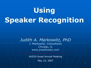 Using  Speaker Recognition