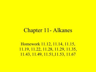 Chapter 11- Alkanes