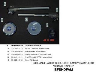 BIGLIANI/FLATOW SHOULDER FAMILY SAMPLE KIT  *GRAND RAPIDS* BFSHDFAM