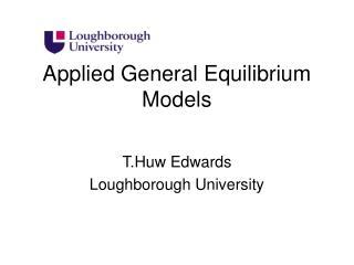 Applied General Equilibrium Models