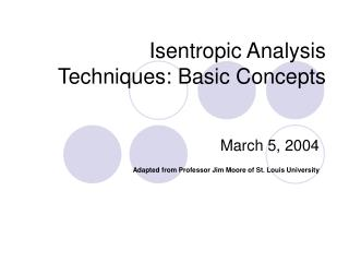 Isentropic Analysis Techniques: Basic Concepts
