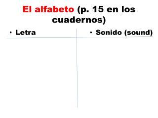 El  alfabeto (p. 15 en los  cuadernos )