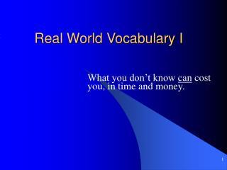 Real World Vocabulary I