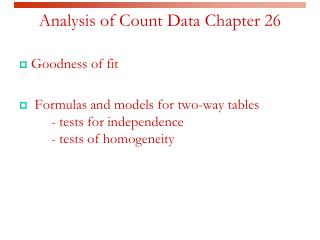 Analysis of Count Data Chapter 26