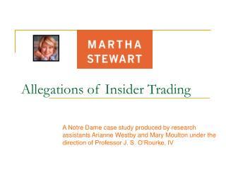 Allegations of Insider Trading