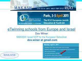 eTwinning schools from Europe and Israel Dov Winer