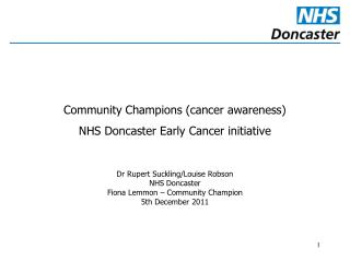 Community Champions (cancer awareness) NHS Doncaster Early Cancer initiative