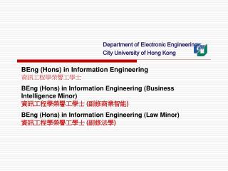 BEng (Hons) in Information Engineering 資訊 工程學榮譽工學士
