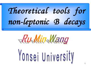 Theoretical tools for non-leptonic B decays