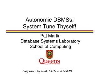 Autonomic DBMSs: System Tune Thyself!